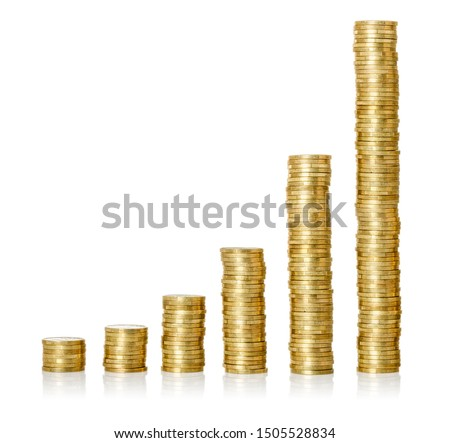 Golden coin stacks on a white background #1505528834