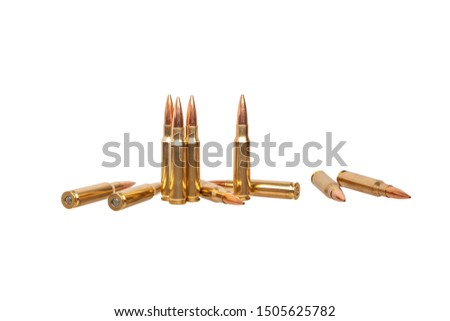 Rifle bullets close-up on white back. Cartridges for rifle and carbine on a white background. Bullet isolated on white. #1505625782