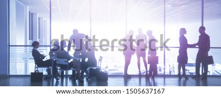 Group ofl  silhouettes of businesspeople comunications  background business centre #1505637167