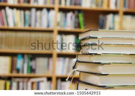 Stack of books in library #1505642915