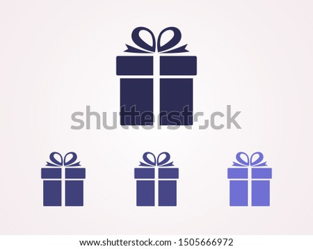 Illustration of gift box icon o background. Christmas gift icon illustration vector symbol. Present gift box icon. Package in gift wrap, vector eps 10 - box icon #1505666972