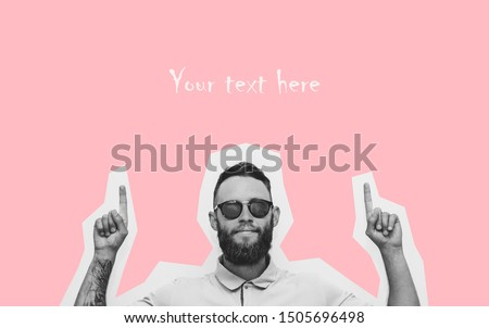 Hipster man pointing with fingers at your text. Crazy hipster guy emotions. Discount, sale, season sales. #1505696498