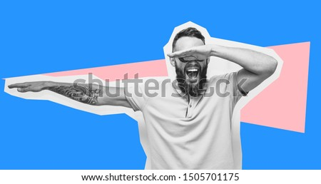Crazy hipster guy emotions. Collage in magazine style with happy emotions. Discount, sale, season sales. Winner Royalty-Free Stock Photo #1505701175