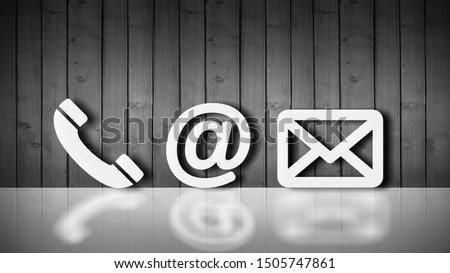Close-up Of Various White Contact Options Leaning On Wooden Wall          - Image #1505747861