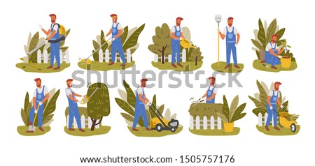 Gardener working flat vector illustrations set. Male handyman character mowing grass, trimming trees and bushes isolated pack. Backyard landscaping, plants cultivating and nursery, garden maintenance.