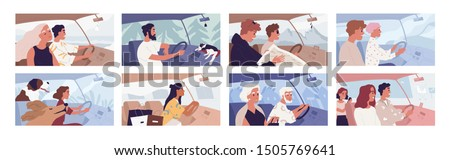 People driving car flat vector illustrations set. Road trip concept. Travelling with pets. Female shopaholic riding with purchases. Friends in vehicle finding route on map. Elegant lady in automobile. #1505769641