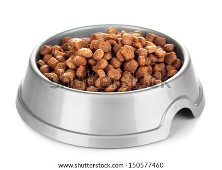 Dry dog treats in bowl isolated on white #150577460