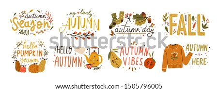 Autumn hand drawn lettering vector set. Fall season handwritten slogan stickers pack. Autumn phrases with cute and cozy design elements decorative bundle. Fall inscription collection isolated on white #1505796005