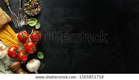 Italian food background. Italian cuisine. Ingredients on dark background. Cooking concept. Cooking background #1505851718
