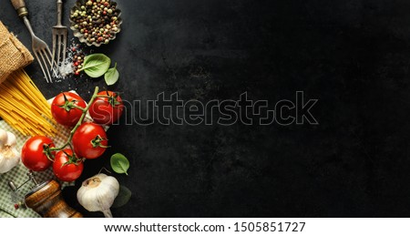 Italian food background. Italian cuisine. Ingredients on dark background. Cooking concept. Cooking background #1505851727