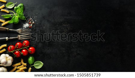 Italian food background. Italian cuisine. Ingredients on dark background. Cooking concept. Cooking background. Banner #1505851739