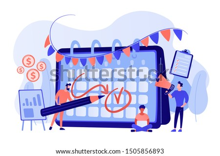 Colleagues preparing for corporate party. Time management, deadline. Brand event. Event brand management, sponsored event organization concept. Bright vibrant violet vector isolated illustration Royalty-Free Stock Photo #1505856893