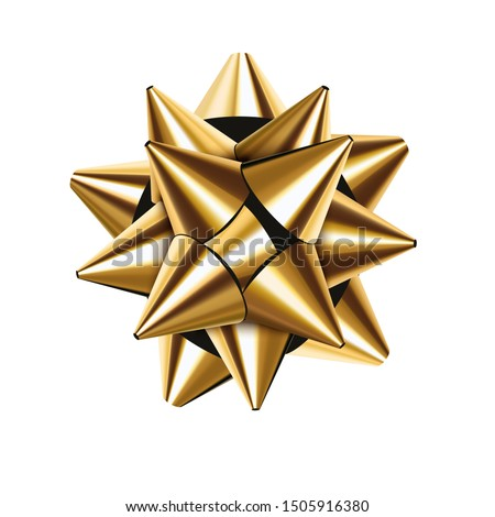 Golden bow realistic illustration. Eps10 vector.