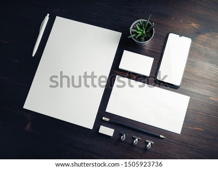 Corporate identity template. Branding mock up. Blank business stationery mock-up on wood table background. #1505923736