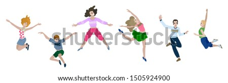Group of happy jumping people in casual clothes isolated on white background. Different poses of young boy and girl. The concept of friendship, childhood or freedom. Flat cartoon vector illustration #1505924900