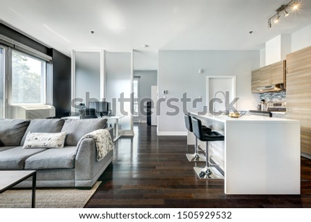 Full set for modern Canadian condominium in Montreal, interior