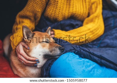 girl hug resting dog together in campsite, close up portrait red shiba inu sleeping in camp tent , hiker woman leisure with puppy dog relax nature vacation, friendship love concept #1505958077