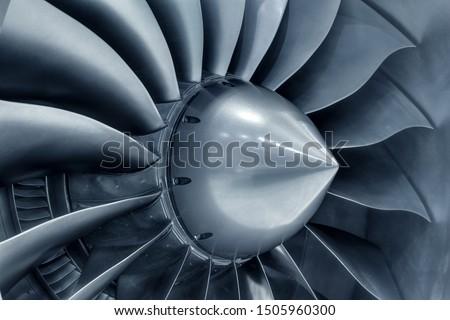 Turbo-jet engine of the plane, close up Royalty-Free Stock Photo #1505960300
