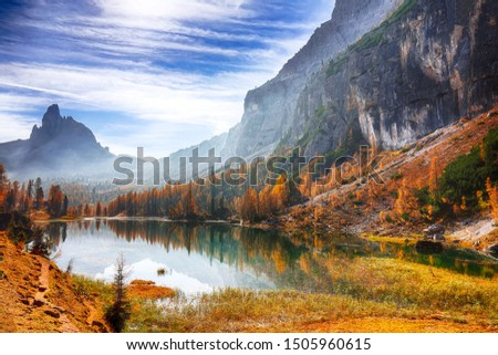Fantastic autumn landscape. View on Federa Lake early in the morning at autumn. Location: Federa lake with Dolomites peak, Cortina DAmpezzo, South Tyrol, Dolomites, Italy, Europe #1505960615
