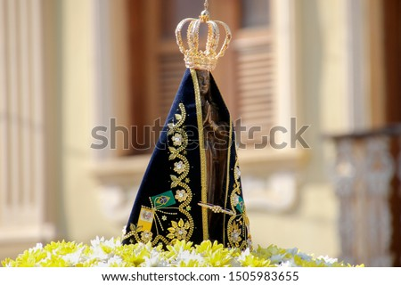 Statue of the image of Our Lady of Aparecida, mother of God in the Catholic religion, patroness of Brazil, decorated with flowers in open parade #1505983655