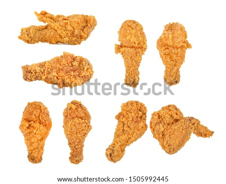 Set of fried chicken isolated on white background. #1505992445