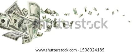 Money falling. American money. Washington american cash, usd background. Royalty-Free Stock Photo #1506024185