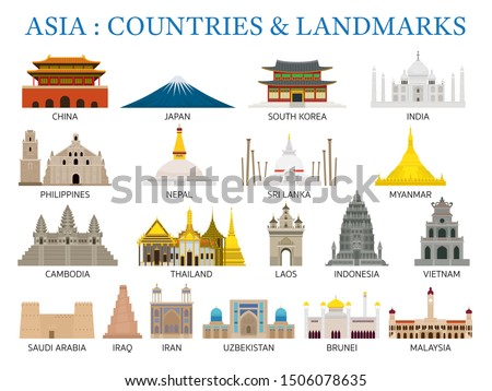 Asia Countries Landmarks in Flat Style, Famous Place and Historical Buildings, Travel and Tourist Attraction Royalty-Free Stock Photo #1506078635