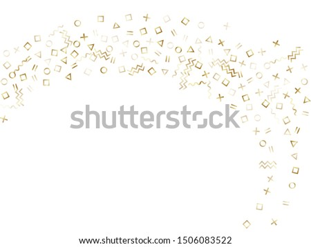Memphis style gold geometric confetti vector background with triangle, circle, square shapes, zigzag and wavy line ribbons. Shiny 90s style bauhaus gold yellow decor confetti falling on white. #1506083522