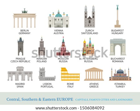 Central, Southern and Eastern Europe Cities Landmarks in Flat Style, Capitals, Famous Place, Buildings, Travel and Tourist Attraction #1506084092