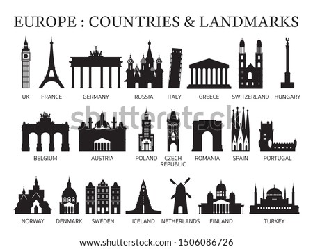 Europe Countries Landmarks Silhouette, Famous Place and Historical Buildings, Travel and Tourist Attraction #1506086726