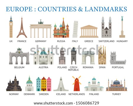 Europe Countries Landmarks in Flat Style, Famous Place and Historical Buildings, Travel and Tourist Attraction #1506086729