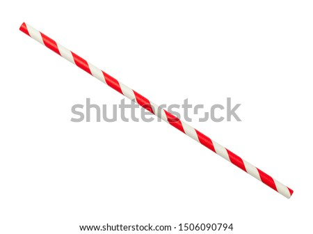 Red and White Striped Straw Cut Out On White. Royalty-Free Stock Photo #1506090794