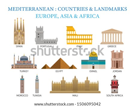 Mediterranean Europe, Africa, Asia Countries Landmarks , Capitals, Famous Place, Buildings, Travel and Tourist Attraction #1506095042