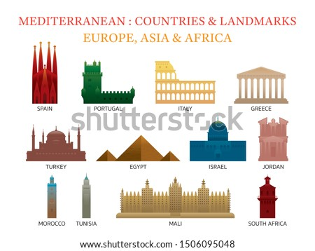 Mediterranean Europe, Africa, Asia Countries Landmarks , Capitals, Famous Place, Buildings, Travel and Tourist Attraction #1506095048