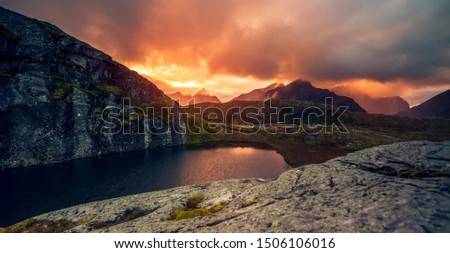 Lofoten islands is an archipelago in the county of Nordland, Norway  #1506106016