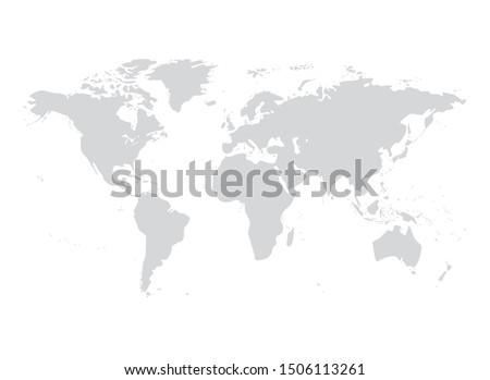 Vector world map illustration australia, asia america europe. #1506113261