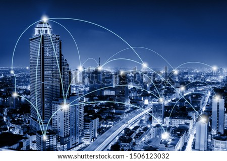 Network Telecommunication and Communication Connect Concept, Connection 5G Networking System of Infrastructure and Cityscape at Night Scenery. Technology Digital Connectivity and Information Transfer #1506123032