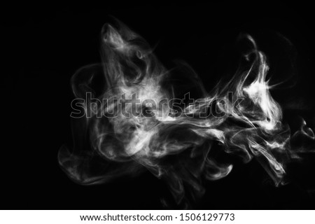 White natural steam smoke effect on solid black background with abstract blur motion wave swirl use for overlay in pollution, vapor cigarette, gas, dry ice, warm hot food, boil water smoke concepts #1506129773