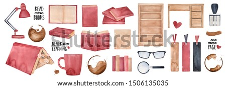 Watercolour illustration collection of many red books, wooden bookcase, funny pet rat character, loupe symbol, office table, text phrases, love hearts, coffee mug stains. Isolated clipart elements.