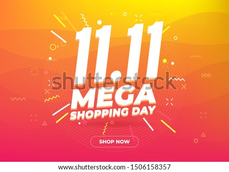 11.11 Mega shopping day sale poster or flyer design. Global shopping world day Sale on colorful background. 11.11 Crazy sales online. #1506158357