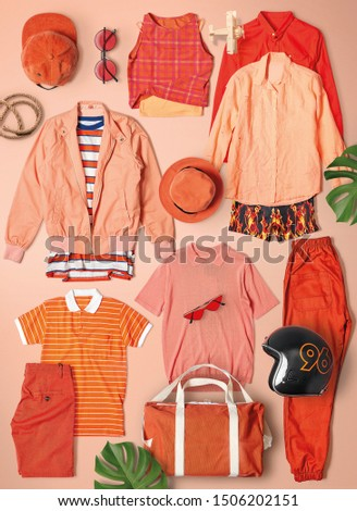 All Orange color group to t-shirt . shirt . Hat . bag . Glasses . long pants . pants . vest . and jacket in Orange color background  #1506202151
