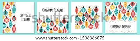 Cute set of scandinavian Christmas Treasures backgrounds with hand drawn Christmas balls and confetti for your decoration #1506366875