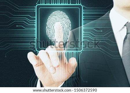 Digital protection concept with digital screen with microchip and fingerprint pushing by businessman. #1506372590
