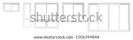 Real modern house window frame set collection isolated on white background Royalty-Free Stock Photo #1506394844
