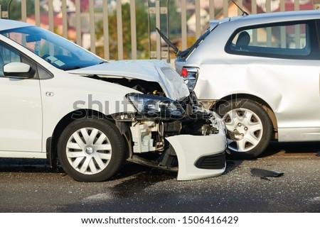 car crash accident on street. damaged automobiles #1506416429
