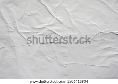 Blank white crumpled and creased paper poster texture background Royalty-Free Stock Photo #1506418934