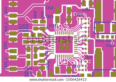 Vector circuit board illustration. Abstract technology. #1506426413