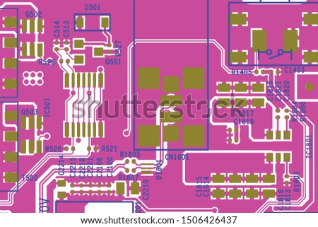 Vector circuit board illustration. Abstract technology. #1506426437