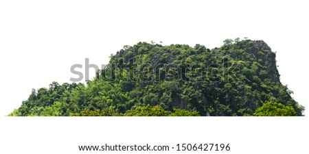 rock mountain hill with  green forest isolate on white background #1506427196