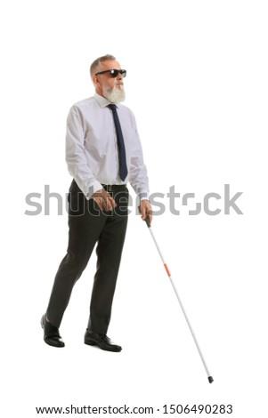 Blind mature man on white background #1506490283